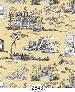Wallpaper Rose Hill Toile Black on Yellow
