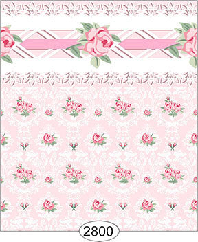 Daniella Floral Damask Wallpaper, Pink with Border