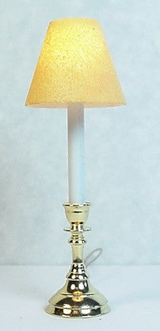 Candlestick Lamp with Hand Painted Shade, Yellow