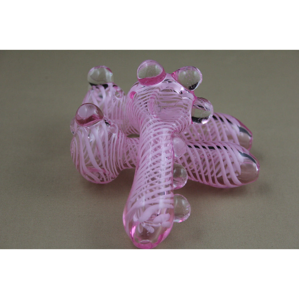 "4"" Pink Tube Marble Heavy Pipes - Smokes Pros"