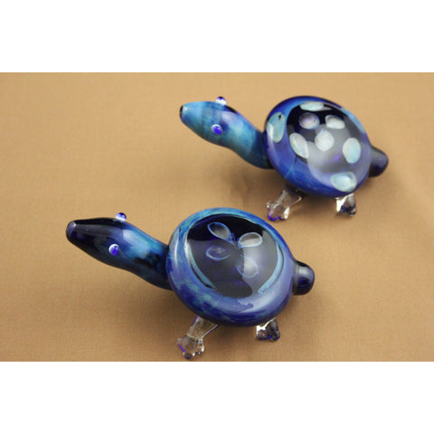 "Blue Glass Turtle Hand Pipe 5.5"" - Smokes Pros"