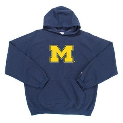 Michigan Wolverines Ncaa Goalie Hooded Sweatshirt (navy Blue) (large) (felt...