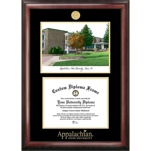 Appalachian State University Gold Embossed Diploma Frame With Limited Edition Lithograph