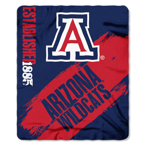 Arizona Wildcats Ncaa Light Weight Fleace Blanket (paint Series) (50inx60in)