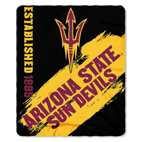 Arizona State Sun Devils Ncaa Light Weight Fleace Blanket (paint Series) (50inx60in)