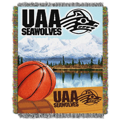 Alaska Anchorage Seawolves Ncaa Woven Tapestry Throw (home Field Advantage) (48x60)