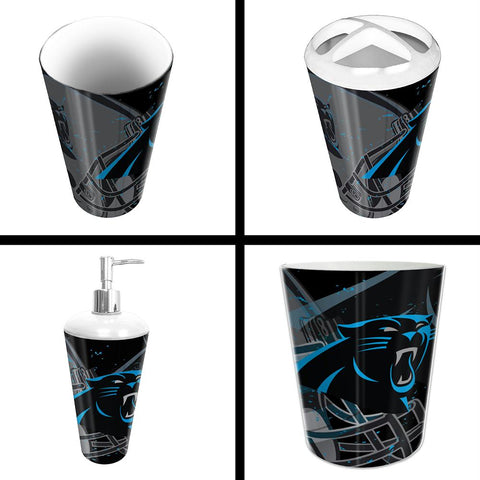 Carolina Panthers Nfl 4 Piece Bathroom Decorative Set (scatter Series)