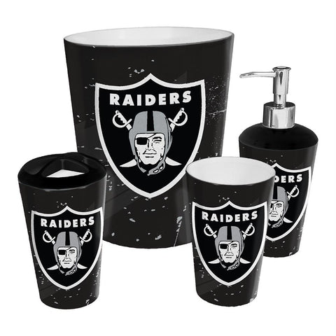 Oakland Raiders Nfl 4 Piece Bathroom Decorative Set (scatter Series)