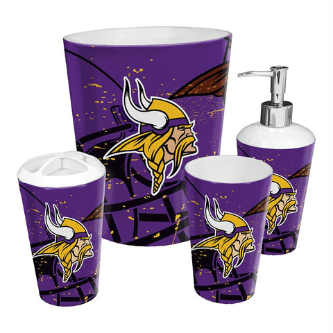 Minnesota Vikings Nfl 4 Piece Bathroom Decorative Set (scatter Series)