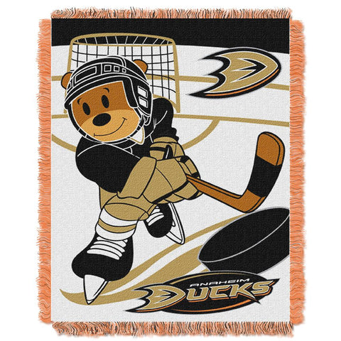 Anaheim Ducks Nhl Triple Woven Jacquard Throw (score Baby Series) (36x48)