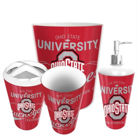 Ohio State Buckeyes Ncaa 4 Piece Bathroom Decorative Set (panel Series)