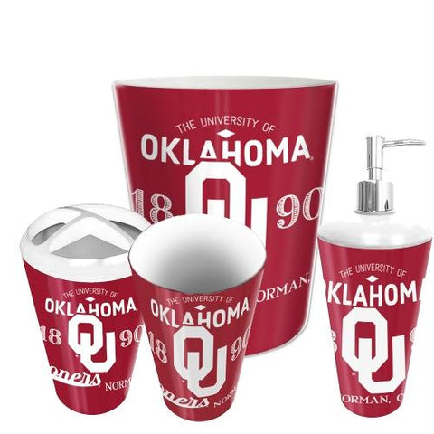 Oklahoma Sooners Ncaa 4 Piece Bathroom Decorative Set (panel Series)