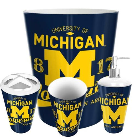 Michigan Wolverines Ncaa 4 Piece Bathroom Decorative Set (panel Series)