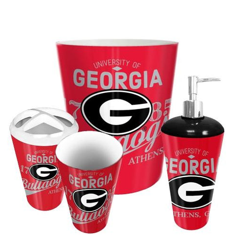 Georgia Bulldogs Ncaa 4 Piece Bathroom Decorative Set (panel Series)