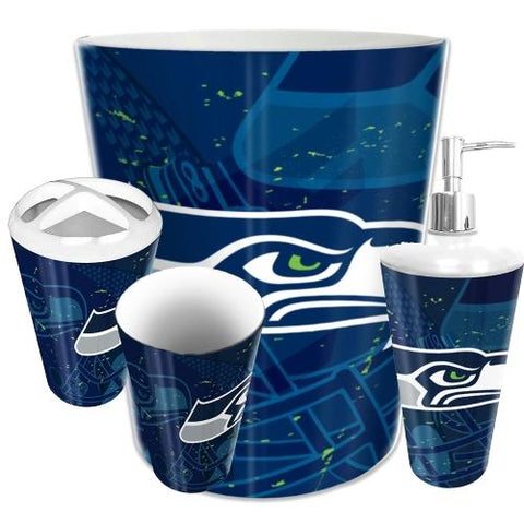 Seattle Seahawks Nfl 4 Piece Bathroom Decorative Set (scatter Series)