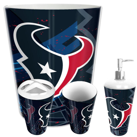 Houston Texans Nfl 4 Piece Bathroom Decorative Set (scatter Series)