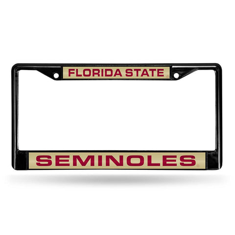 Florida State Seminoles Ncaa Black Chrome Laser Cut License Plate Frame