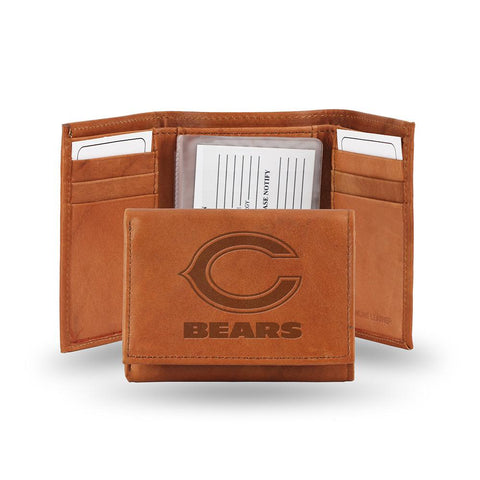 Chicago Bears  Tri-fold Wallet (pecan Cowhide)