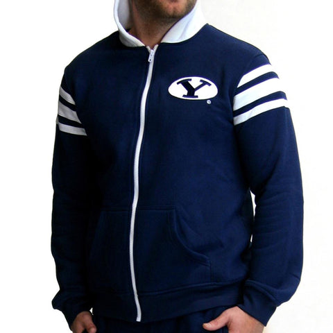 Brigham Young Cougars Ncaa Mens Full-zip Hoddie (navy Blue) (x-small)
