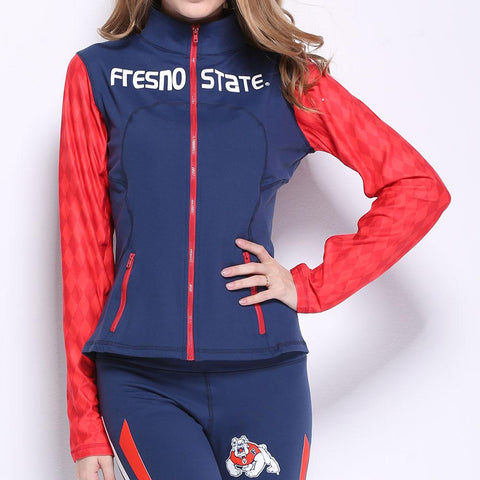 Fresno State Bulldogs Ncaa Womens Yoga Jacket (navy Blue) (large)