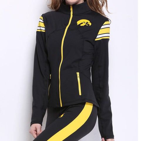 Iowa Hawkeyes Ncaa Womens Yoga Jacket (black) (small)