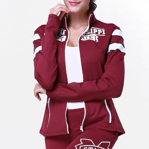 Mississippi State Bulldogs Ncaa Womens Yoga Jacket (maroon)