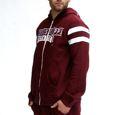 Mississippi State Bulldogs Ncaa Mens Full-zip Hoddie (maroon)