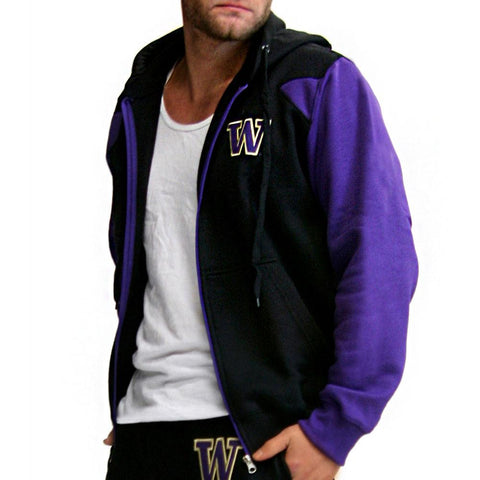 Washington Huskies Ncaa Mens Full-zip Hoddie (black)