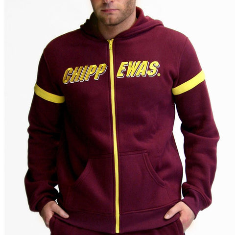 Central Michigan Chippewas Ncaa Mens Full-zip Hoddie (maroon) (x-small)
