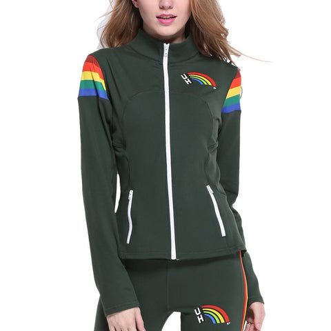 Hawaii Rainbow Warriors Ncaa Womens Yoga Jacket (rainbow) (green)