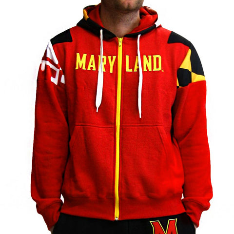 Maryland Terps Ncaa Mens Full-zip Hoddie (red)