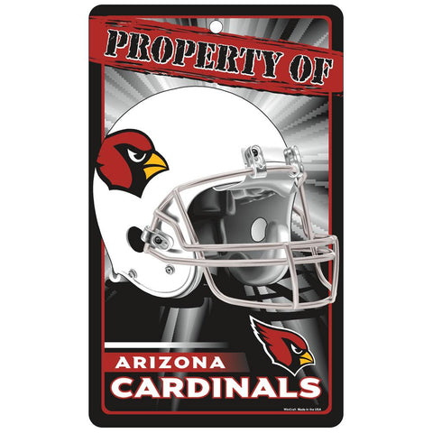 Arizona Cardinals Nfl Property Of Plastic Sign (7.25in X 12in)