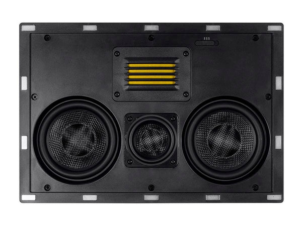 Monoprice Amber In-Wall Speaker Center Channel Dual 5.25-inch 3-way Carbon Fiber with Ribbon Tweeter (single) (24431)