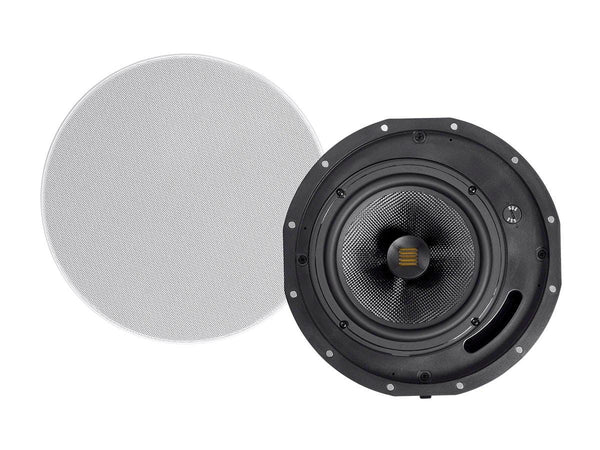 Monoprice Amber Ceiling Speakers 8-inch 2-way Carbon Fiber with Ribbon Tweeter (pair) (24434)