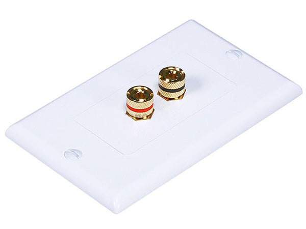 Monoprice PID-3324 Connectors: High Quality Banana Binding Post Two-Piece Inset Wall Plate for 1 Speaker - Jamsticks