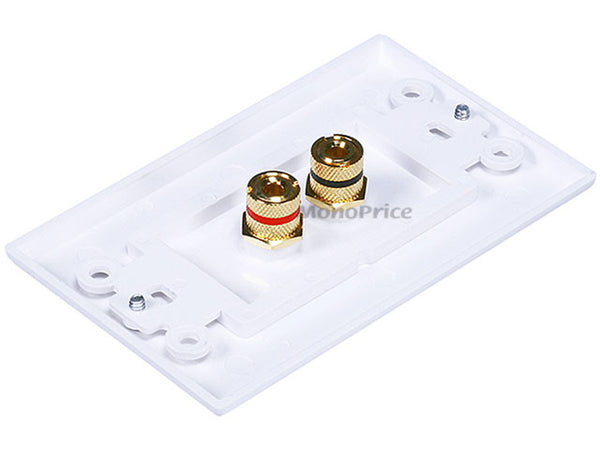 Monoprice PID-3324 Connectors: High Quality Banana Binding Post Two-Piece Inset Wall Plate for 1 Speaker