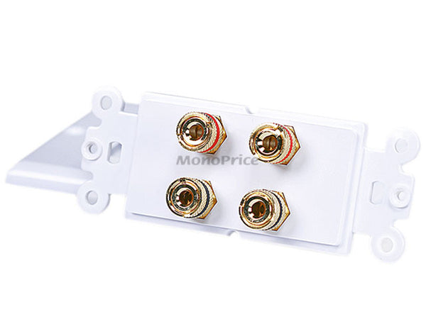 Monoprice PID-3325 Connectors: High Quality Banana Binding Post Two-Piece Inset Wall Plate for 2 Speakers