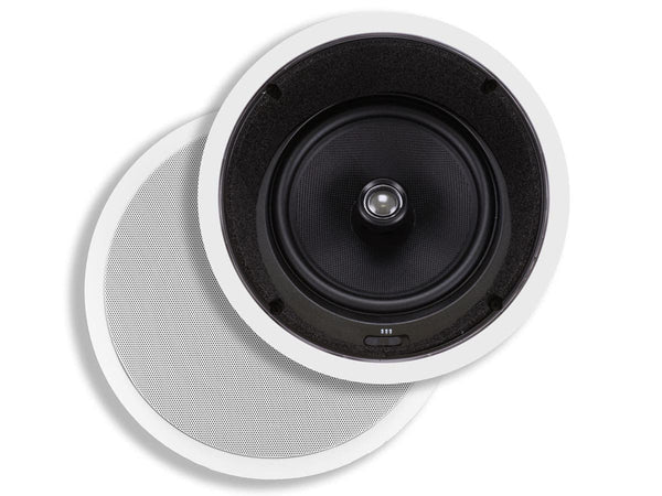 Monoprice Caliber In-Ceiling Speakers, 8in Fiber 2-Way with 15° Angled Drivers (pair) (4929)