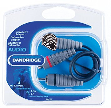 Bandridge SAL-4500 BE PRE Subwoofer Audio Adapter 1RCA Plug - 2 RCA sockets .2mtrs - Digital Cables - Jamsticks
