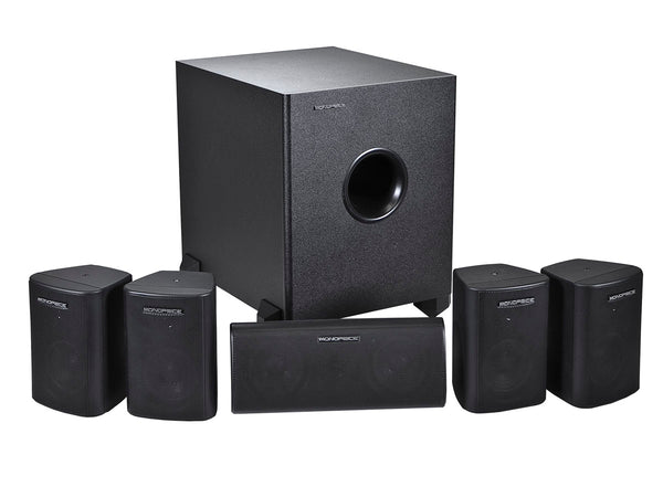 Monoprice PID-8247 5.1 Channel Home Theater Satellite Speaker & Subwoofer-Black - Jamsticks