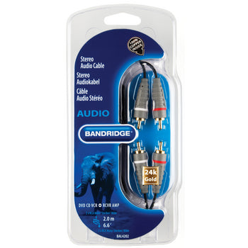 Bandridge BAL-4202 Stereo Audio Cable 2x RCA Male - 2x RCA Male 2.00 m Blue