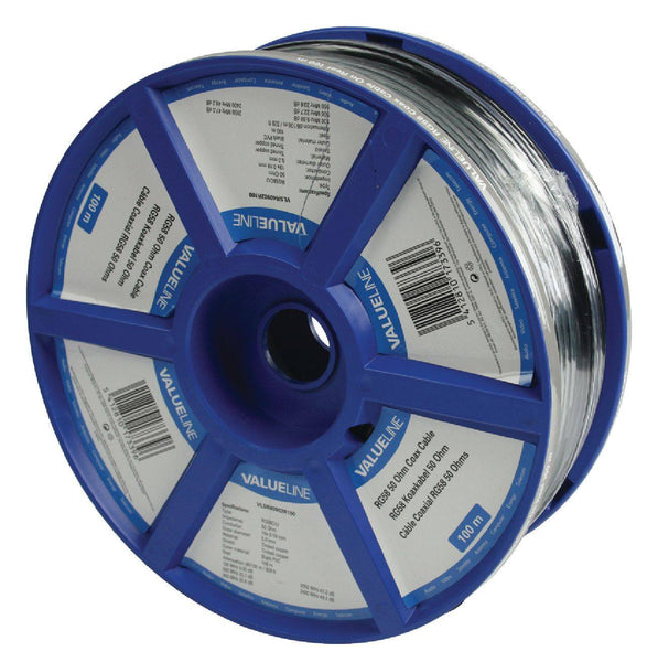 Valueline VLSR40902R100  RG58 5.0 mm 100 m Coax Cable On Reel - Jamsticks