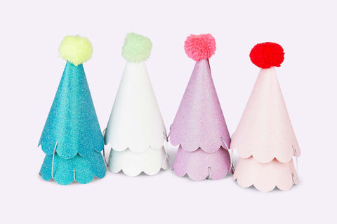 Merimeri Party Glitter Party Hats with Pom Poms
