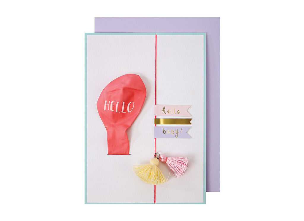Merimeri Party - Hello Pink Balloon Baby Card
