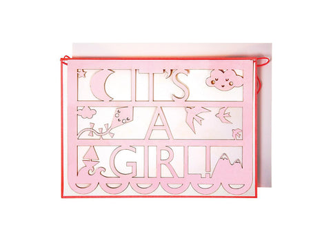 Merimeri Party - Ornate Its A Girl Cut Garland Card