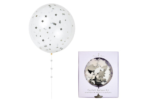 Merimeri Party - Silver Confetti Balloon Kit