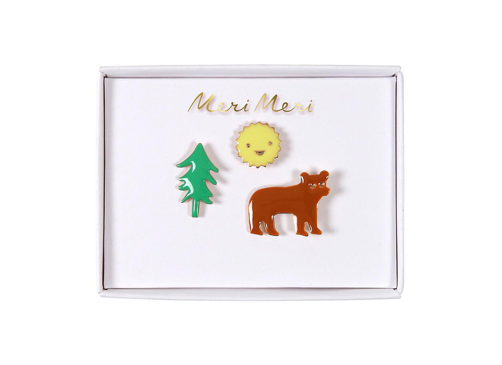 Merimeri Party - Bear, Sun & Tree Enamel Pins