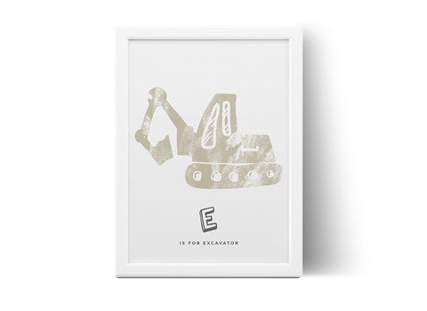 Poster - E is for Excavator