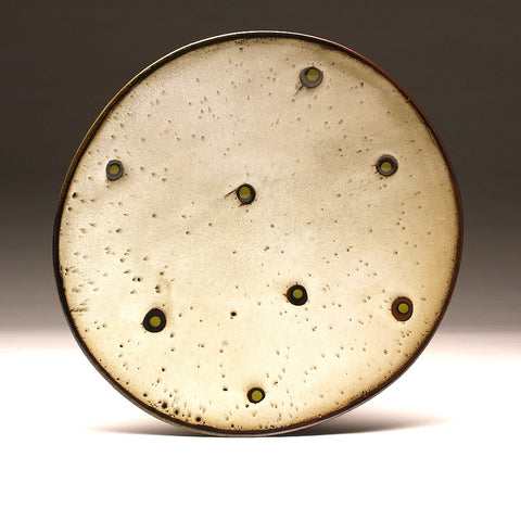 "DH006 Large 15"" White and Tenmoku Spotted Platter"