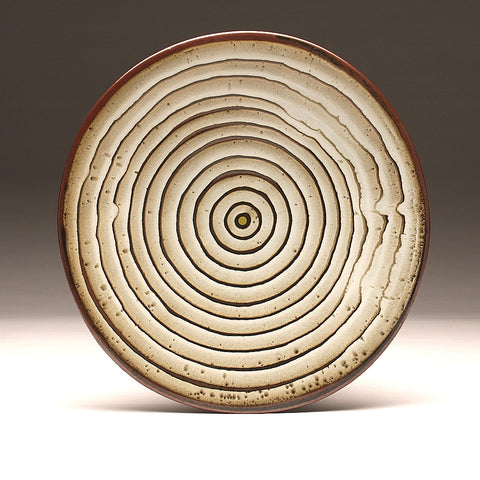 "DH007 Large 15"" White and Tenmoku ""Eye"" Platter"